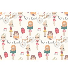 Back to school seamless pattern with school girls vector image