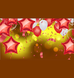 Background with bokeh effect and party balloons vector