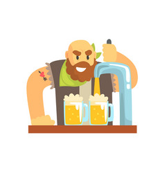 Bald bearded bartender man character standing at vector