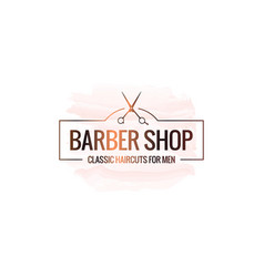 Barber shop logo with scissors watercolor vector