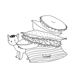 Beautiful pillows and cat vector image