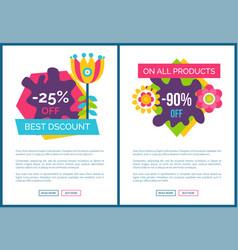 best discount promo posters set cartoon flower vector image