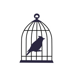 Bird sits locked in an iron cage vector