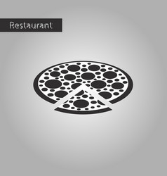 black and white style icon pizza vector image