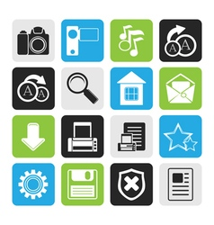 Black Simple Internet and Website Icons vector