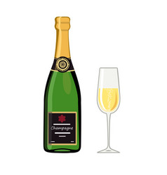 bottle champagne with glass isolated on white vector image