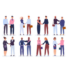 business hands shaking office workers shake hands vector image
