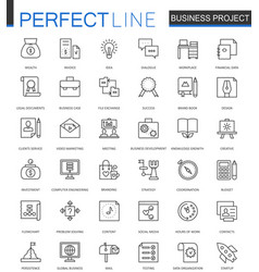 Business project thin line web icons set strategy vector