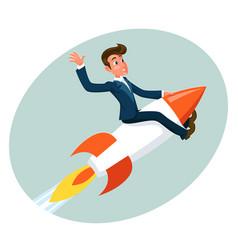 businessman space roket ship launch sky cartoon vector image