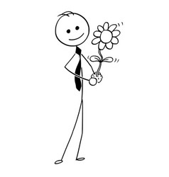 cartoon of businessman with blooming plant in hand vector image