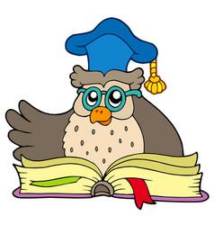 Cartoon owl teacher with book vector
