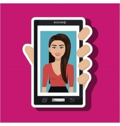 Cellphone woman find hand vector
