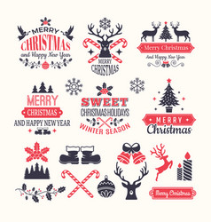 christmas holiday labels vintage winter badges vector image