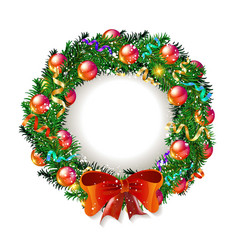 christmas wreath 2019 with red bow vector image