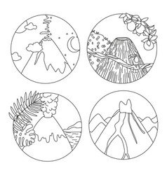 coloring book page with volcanoes vector image