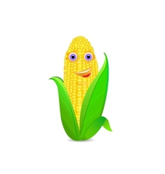 corn with eyes and smile icon vector image