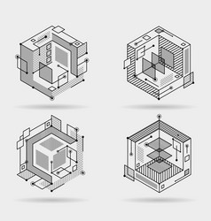 Cubic isometric abstract lines elements technical vector