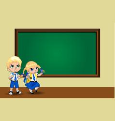 Cute cartoon school girl and boy in uniform vector