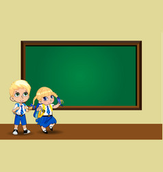 cute cartoon school girl and boy in uniform with vector image
