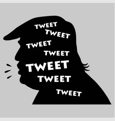 donald trump tweets silhouette icon vector image