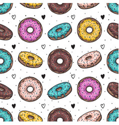 donuts with colorful glazing seamless pattern vector image