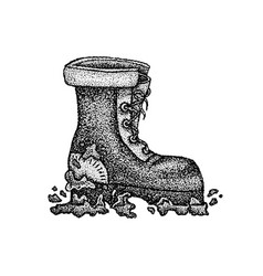 Dotwork dirty boot vector