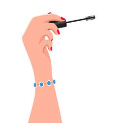 elegant women s hand holding a mascara wand vector image