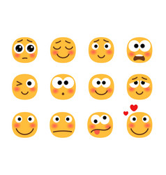 Embarrassed emoji set vector