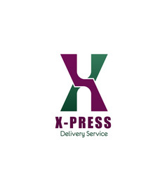 express delivery service letter x icon vector image