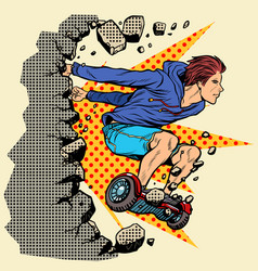 extreme teenager on hoverboard breaks wall vector image
