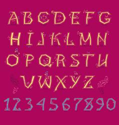Festive yellow alphabet vector