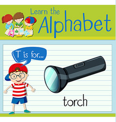 Flashcard letter T is for torch vector image