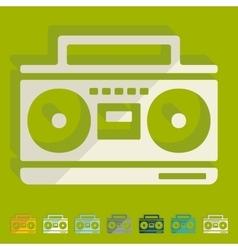 Flat design cassette recorder vector