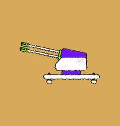 Flat shading style icon anti aircraft gun vector