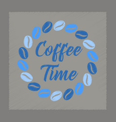 Flat shading style icon coffee time logo vector