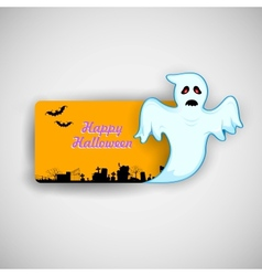 Flying Boo ghost wishing Happy Halloween vector