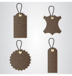 Four brown leather VIP tag with gold thread hang vector