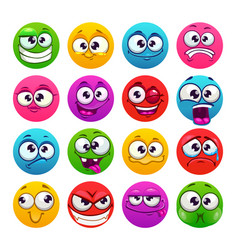 Funny colorful round emoji faces emoticons vector