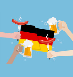germany flag with a glass beer and sausage vector image