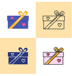 gift box icon set in flat and line styles vector image