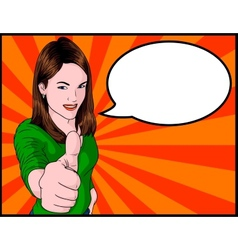 Girl Giving Thumbs Up vector image