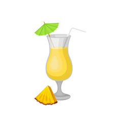 glass of pina colada cocktail with umbrella and vector image