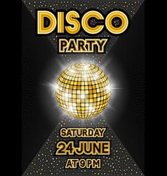 Golden disco ball on black background party vector