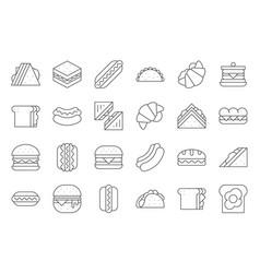 hamburger hotdog club sandwich mexican taco egg vector image