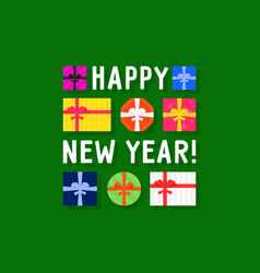 happy new year with top view gift box vector image