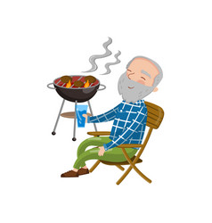 Happy smiling grandpa grilling barbecue while vector