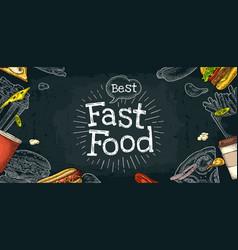 horizontal poster fast food menu white vector image