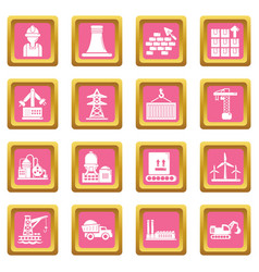 Industry icons set pink square vector