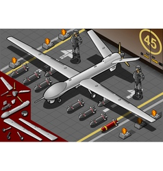 Isometric Drone Airplane Landed in Front View vector image