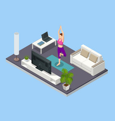 Isometric girl watching online classes on laptop vector